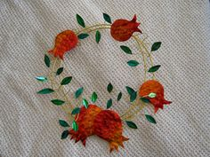 Shop for wreath on Etsy, the place to express your creativity through the buying and selling of handmade and vintage goods. Christmas Door Wreaths, Holiday Wreaths, Pomegranates, Winter Holidays, Metal Art, Embroidery, Ornaments, Unique, Inspiration