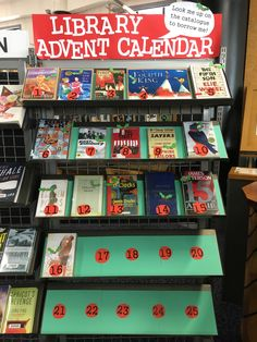 It's the library advent calendar! Each book displayed has a number from 1-25 in the title, with a new title added each day until Christmas #librarydisplay