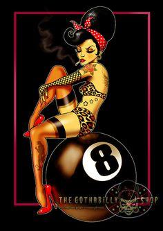 Eightball Rockabilly Pinup Art Print by Marcus Jones 11.5 x 8 approx size
