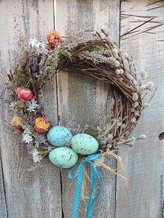 пасхальный венок Весна и бирюза - бирюзовый,светлая пасха,Праздник,подарок
