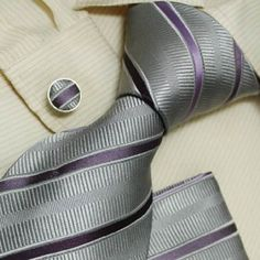 NEW Designer Silver Stripes 100% Jacquard Woven Silk Purple Tie Hanky Mens Necktie and Cuff Links Cufflinks and Handkerchiefs Set H5038: Clothing