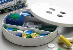 Organized sewing supplies: Button Sewing Box.