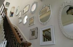 mirror idea for the living room--paint frames same color? eclectic staircase by Donna Thomas Vintage Chic Furniture Mirror Gallery Wall, Round Wall Mirror, Mirror Mirror, Mirror Walls, Mirror Collage, Mirror Stairs, Frame Mirrors, Gold Mirrors, Gallery Walls