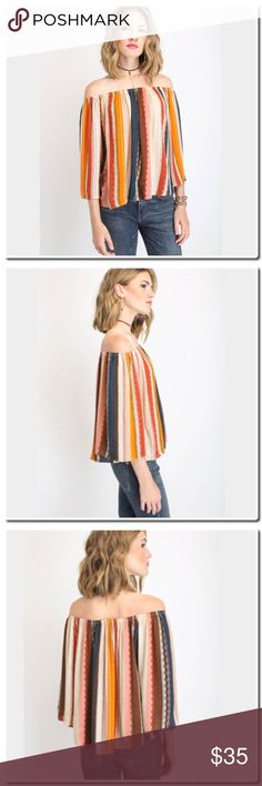 "NWOT Vertical Stripe Off Shoulder Top Off-shoulder top Vertical stripe print Multi colored ¾ sleeves Flowy fit 100% rayon Machine wash cold, hang or line dry Measures approximately 18"" from neckline Model shown wearing size small (S) Made in the USA Tops"