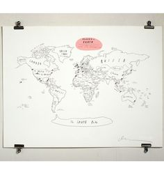 catbird::Art & Prints::Places on Earth Map