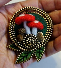 A little mushroom scene brooch | I always try to have a few … | Flickr