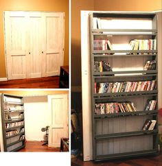 Closet Door and DVD Storage | Do It Yourself Home Projects from Ana White - the hall/closet door?