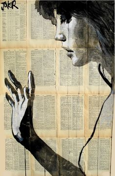 """Saatchi Online Artist: Loui Jover; Pen and Ink, Drawing """"search""""  Try newspaper, maps, book pages, other photo - Doug"""