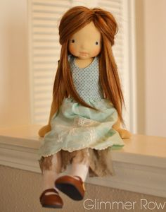 """16"""" tall articulated, jointed cloth doll. All natural, constructed from wood, wool and cotton by Glimmer Row"""