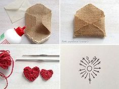 busta iuta con cuore all'uncinetto : Tutorial - for message - crochet heart - diy - handmade Valentines Day Party, Valentines Day Decorations, Valentine Day Crafts, Love Valentines, Burlap Crafts, Diy And Crafts, Craft Gifts, Diy Gifts, Theme Noel