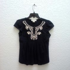 *HP!* Michael Kors Black Babydoll Peplum Top *11/4/15 Back to Basics Party Host Pick!* MICHAEL Michael Kors brand, size medium, in perfect condition! The style has a beautiful babydoll peplum waist. The embroidery is so gorgeous!! And there is a keyhole in the center of the neckline. Please ask any and all questions before purchasing. Thanks! MICHAEL Michael Kors Tops Blouses