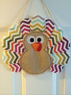Chevron Turkey Door Hanger. Custom with Burlap  and by CreatedByMI