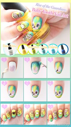 Rise of the Guardians Baby Tooth Nail Art Tutorial! Please visit my blog for the details<3xx https://nailbees.com/baby-tooth-nail-art #31DC2014 #nailart #Tutorial