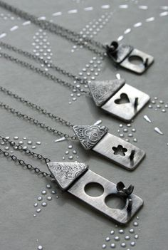Super fun artisan jewelry by The Rare Bird Nice photo in B & W? Metal Clay Jewelry, Pendant Jewelry, Jewelry Art, Silver Jewelry, Jewelry Design, Artisan Jewelry, Handmade Jewelry, Precious Metal Clay, Schmuck Design