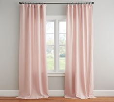 Shop Pottery Barn for custom curtains and drapes. You'll find window coverings made from linen, silk and tweed in a host of colors and styles. Blush Curtains, Drapes And Blinds, Bedroom Drapes, Cool Curtains, How To Make Curtains, Bedroom Decor, Blackout Curtains, Bedroom Ideas, Blue Drapes