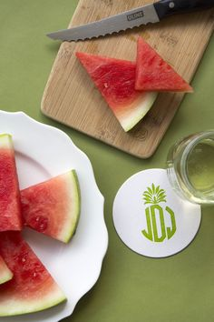 Personalized Coasters, Custom Coasters, Pineapple Monogram, Good Ole, Foil Stamping, Chipboard, Ink Color, Letterpress, Watermelon