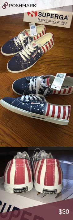 """American Flag Superga! Being from Italy, I LOVE Superga shoes and have a few of them! These are the limited edition """"american flag"""" ones! 🇺🇸 Very comfortable and fashionable! P.S.: they have never been worn! Superga Shoes Athletic Shoes"""