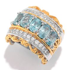151-136 - Gems en Vogue 2.64ctw Blue & While Zircon Wide Band Ring