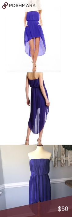 BCBGeneration purple high low formal dress Polyester pleated high low dress. Lined. New with tags BCBGeneration Dresses
