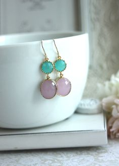 Pink Opal Oval Framed Glass Drop, Mint Opal Glass Connectors French Dangle Earrings.  Modern Everyday. Wedding Bridal Bridesmaids Earrings via Etsy