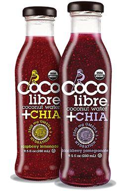 coco libre coconut water + chia. cherry apple delish!