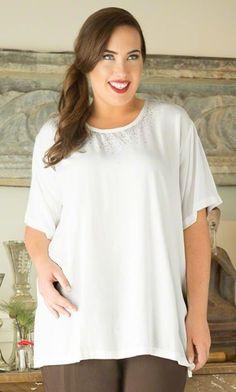 EMBELLISHED RAYON SHELL / MiB Plus Size Fashion for Women / Winter Fashion / Plus Size Dress / Plus Size Top