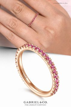 14K Rose Gold Ruby Stackable Ring LR50889K4JRA #StackableRing #Ring #RubyStackableRing # RubyRing #GabrielNY #RoseGoldRing Spring Wedding Decorations, Summer Wedding Colors, Wedding Men, Wedding Bands, Wedding Ideas, Anniversary Bands, Metal Necklaces, Stackable Rings, Birthstone Jewelry