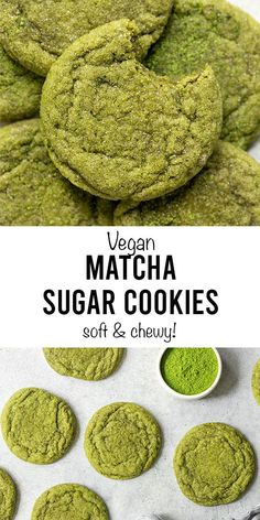 The best Vegan Matcha Sugar Cookies that are so soft Eggless Sugar Cookies, Matcha Cookies, Lemon Sugar Cookies, No Flour Cookies, Cookies Vegan, Vegan Baking Recipes, Delicious Cookie Recipes, Vegan Dessert Recipes, Vegan Matcha Cake Recipe