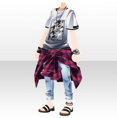 Upper Body / Inner Warmoraft Casual Style B White - Upper body / Inner @ Woromoraf Casual Style B White - Anime Outfits, Boy Outfits, Cute Outfits, Fashion Outfits, Clothing Sketches, Dress Sketches, Manga Clothes, Drawing Clothes, Fashion Design Drawings