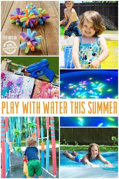 Are you ready to play with water this summer? From going to the pool to facing off with water balloons, we've found the best water play ideas online for you! Fun Ways to Play With Water This Summer A Outside Activities, Summer Activities For Kids, Sensory Activities, Summer Kids, Preschool Activities, Family Activities, Outdoor Activities, Birthday Activities, Activities For Kids