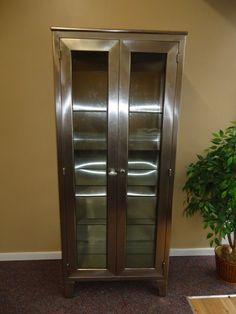 1950u0027s Vintage Stainless Steel Medical Cabinet Blickman Inc Conqueror Line  | EBay