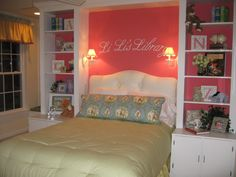 love the bookshelf on the side of the bed
