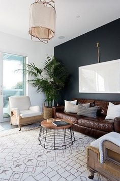 Home Decoration Light Bold Black Accent Wall Ideas.Home Decoration Light Bold Black Accent Wall Ideas Navy Accent Walls, Accent Walls In Living Room, Accent Wall Bedroom, Boho Living Room, Living Room Sofa, Navy Walls, Dining Rooms, Brown Leather Couch Living Room, Dark Leather Couches