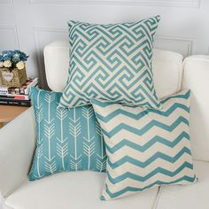 Topfinel Blue Cushion Cover 18 x 18 Inch Canvas Decorative Square Throw Pillow Cases for Sofa Bedroom with Invisible Zipper x of 6 Green Cushion Covers, Green Cushions, Cushions On Sofa, Throw Pillow Cases, Pillow Covers, Throw Pillows, Bedroom Sofa, Sofa Set, Cotton Linen