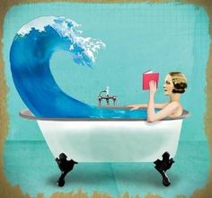Reading in the bathtub. Pin if you like the painting! :) #reading #books #bathtub