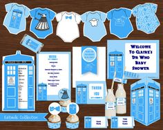 Dr Who Baby Shower Baby Blue DIY Printable by CreativeLittleStars, $19.50