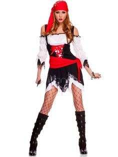 Multi Color Two-Tone Polyester Adult Pirate Costume For Women - Milanoo.com