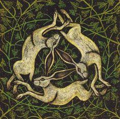 Hare Trio by Vikkki on DeviantArt Hare Illustration, Rabbit Tattoos, Mandala, Rabbit Art, Bunny Art, Medieval Art, Medieval Symbols, Celtic Art, Art Graphique