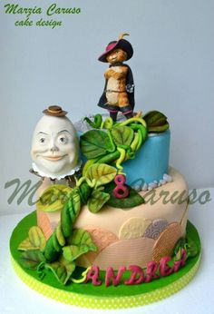 Cat in Boots and Humpty Dumpty Cake Cupcake Icing, Cupcake Cookies, Shrek Cake, Cake Pictures, Cake Pics, Christmas Cake Designs, Sculpted Cakes, Humpty Dumpty, Cookie Pie