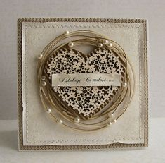 From Dorota Kopec in Stalowa Wola, Podkarpackie, Poland. Pretty Cards, Love Cards, Shabby Chic Cards, Engagement Cards, Heart Cards, Card Making Inspiration, Valentine Day Cards, Paper Cards, Creative Cards