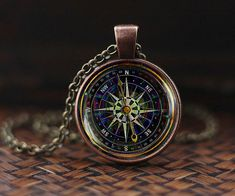 Black Compass necklace, Vintage compass necklace, Old compass pendant, Voyage Steampunk necklace Traveler gift, NOT REAL compass