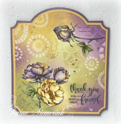 Jenine Siemerink: Thank you for being a great Friend Distress Oxide Ink, 3d Cards, Card Making Techniques, Tag Design, Tampons, Great Friends, Stamping Up, Flower Cards, Cardmaking