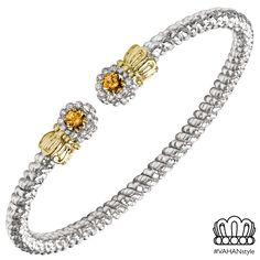 3 mm bracelet set in 14k gold, sterling silver, diamonds and citrine quartz.