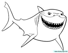 finding nemo coloring pages bruce - Finding Nemo Coloring Pages Bruce