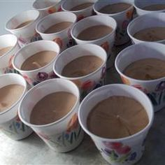 Dangerously Delicious! One package of chocolate pudding mix, half cup of vodka, half a cup of baileys, one cup of milk, whisk together into little cups and refridge for thirty min. top with whip cream!