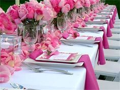 Pink place settings and centerpieces