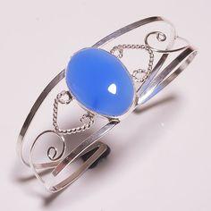 Wonderful Chalcedony .925 Silver Handmade Bangle Cuff Jewelry JB181 #Handmade