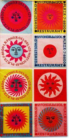 """design-is-fine: """"Alexander Girard, sunny artwork for La Fonda del Sol, Source """" Alexander Girard, Site Portfolio, Metropolis Magazine, Graffiti, Design Graphique, Art Pages, Graphic Design Inspiration, Textile Design, Graphic Illustration"""