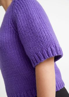 Cropped Knit Top - Purple - Sweaters - & Other Stories GB