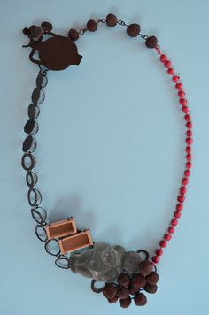 """Katja Toporski """"Cosmos 3"""" Necklace 2012 Steel, Concrete, Iron Ore, Resin, Latex 10"""" x 9"""" x 1"""""""